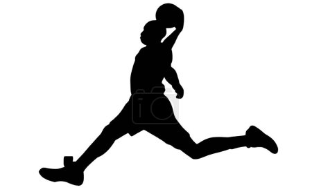 Photo for Basketball Dunk Silhouette on white background - Royalty Free Image