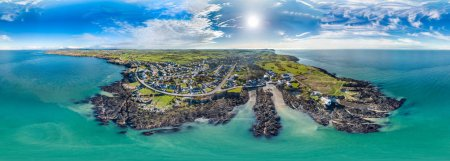 Aerial view of Bull Bay on the Northern coast of Anglesey, Wales, UK