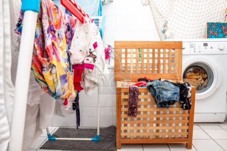 Photo for Huge amount of laundry drying in the bathroom. - Royalty Free Image