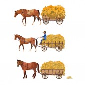 Horse-drawn cart with hay Set of vector illustration isolated on white background