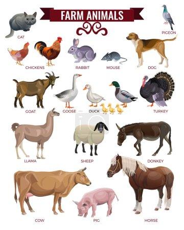 Photo pour Ensemble d'animaux de ferme. Illustration vectorielle isolée sur fond blanc - image libre de droit