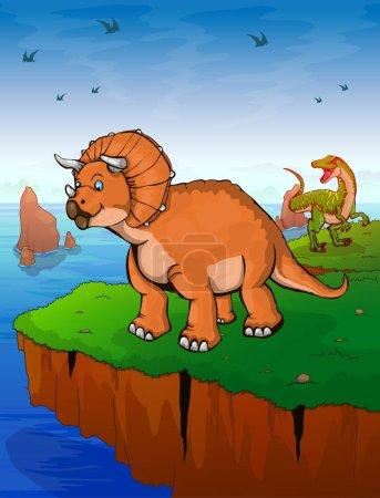 Illustration pour Tricératops le fond de la mer. Illustration vectorielle . - image libre de droit
