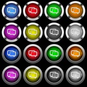 Chat bubbles white icons in round glossy buttons with steel frames on black background