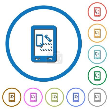 Ilustración de Iconos de vector de color plano gyrosensor móvil con sombras en los contornos redondos sobre fondo blanco - Imagen libre de derechos