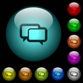 Chat bubbles icons in color illuminated spherical glass buttons on black background Can be used to black or dark templates