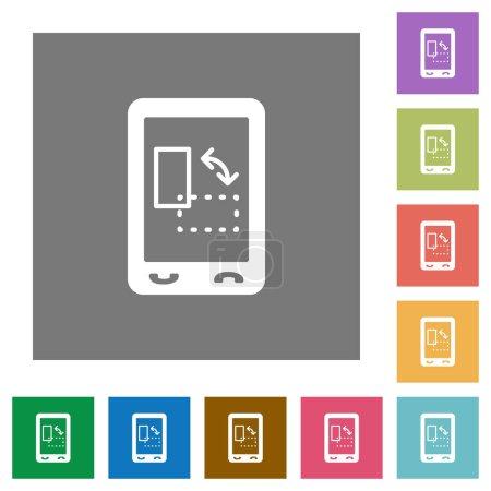 Ilustración de Gyrosensor móvil plana iconos fondos cuadrados de color simple - Imagen libre de derechos