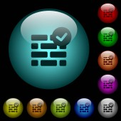 Active firewall icons in color illuminated spherical glass buttons on black background Can be used to black or dark templates