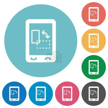 Ilustración de Iconos móviles gyrosensor blanca plana sobre fondos de color redondo - Imagen libre de derechos