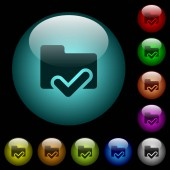 Folder ok icons in color illuminated spherical glass buttons on black background Can be used to black or dark templates