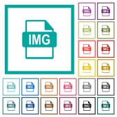 IMG file format flat color icons with quadrant frames on white background