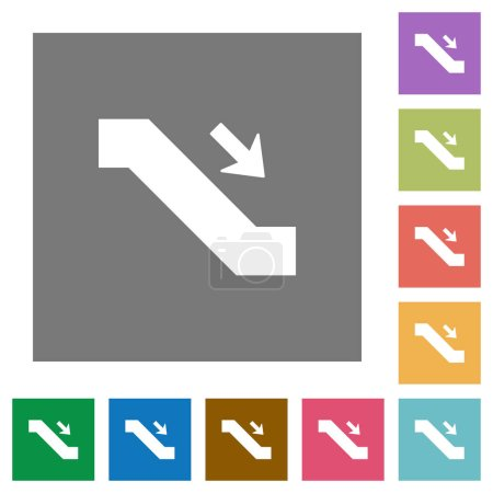 Escalator down sign flat icons on simple color square backgrounds