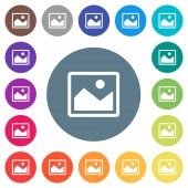 Single picture flat white icons on round color backgrounds 17 background color variations are included