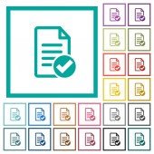 Document ok flat color icons with quadrant frames on white background