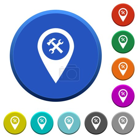 Workshop service GPS map location round color beveled buttons with smooth surfaces and flat white icons