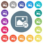 Cut image flat white icons on round color backgrounds 17 background color variations are included