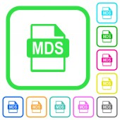MDS file format vivid colored flat icons in curved borders on white background