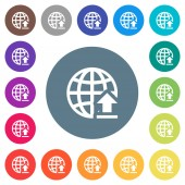 Upload to internet flat white icons on round color backgrounds 17 background color variations are included