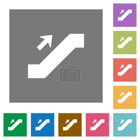 Escalator up sign flat icons on simple color square backgrounds