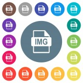 IMG file format flat white icons on round color backgrounds 17 background color variations are included