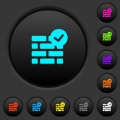 Active firewall dark push buttons with vivid color icons on dark grey background