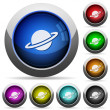 Planet icons in round glossy buttons with steel fr...