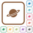 Planet simple icons in color rounded square frames...