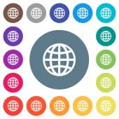 Globe flat white icons on round color backgrounds 17 background color variations are included