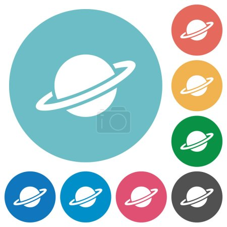 Planet flat white icons on round color backgrounds...