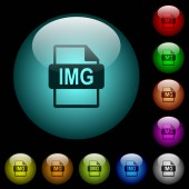IMG file format icons in color illuminated spherical glass buttons on black background Can be used to black or dark templates