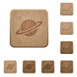 Planet on rounded square carved wooden button styl...