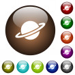 Planet white icons on round color glass buttons...