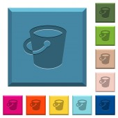 Bucket engraved icons on edged square buttons in various trendy colors