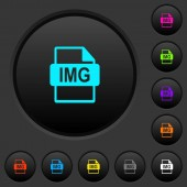 IMG file format dark push buttons with vivid color icons on dark grey background