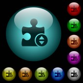 Plugin fine tune icons in color illuminated spherical glass buttons on black background Can be used to black or dark templates