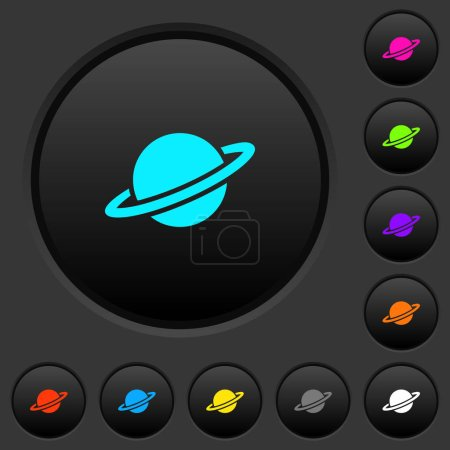 Planet dark push buttons with vivid color icons on...