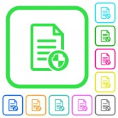 Document protect vivid colored flat icons in curved borders on white background