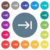 Keyboard tab flat white icons on round color backgrounds 17 background color variations are included