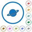 Planet flat color vector icons with shadows in rou...