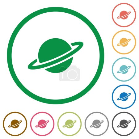 Planet flat color icons in round outlines on white...