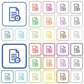 Document protected color flat icons in rounded square frames Thin and thick versions included