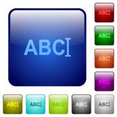 Typing text with cursor icons in rounded square color glossy button set