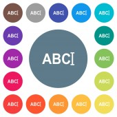 Typing text with cursor flat white icons on round color backgrounds 17 background color variations are included