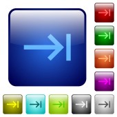 Keyboard tab icons in rounded square color glossy button set