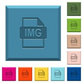 IMG file format engraved icons on edged square buttons in various trendy colors