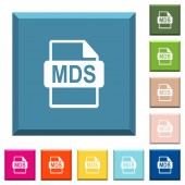 MDS file format white icons on edged square buttons in various trendy colors