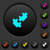 Cooperation dark push buttons with vivid color icons on dark grey background
