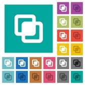 Intersect shapes multi colored flat icons on plain square backgrounds Included white and darker icon variations for hover or active effects