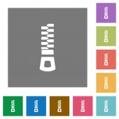 Vertical zipper flat icons on simple color square backgrounds