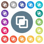 Intersect shapes flat white icons on round color backgrounds 17 background color variations are included