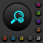 Delete search dark push buttons with vivid color icons on dark grey background